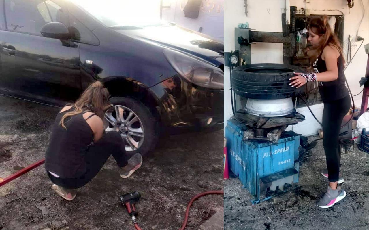 Muğla'da 18 yaşındaki Duygu lastik tamirciliği yapıyor
