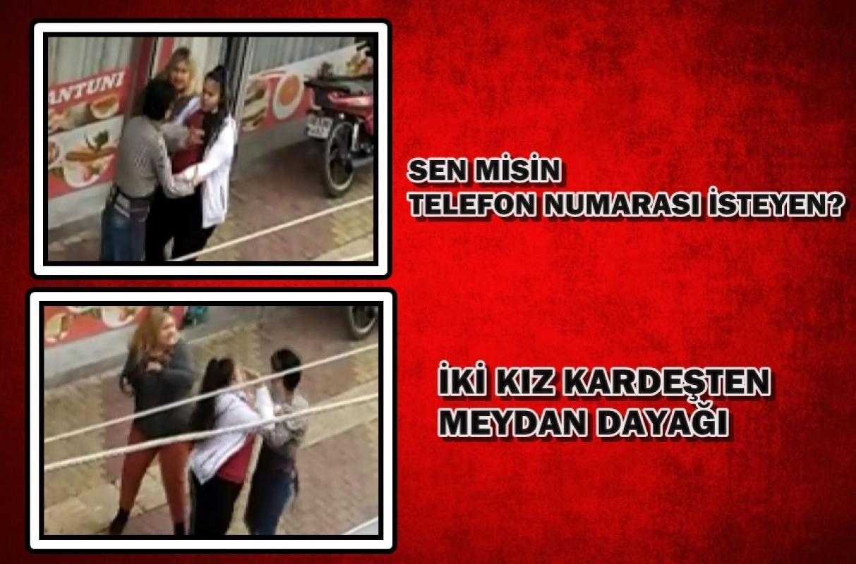 İki kız kardeş sokak ortasında bir erkeği evire çevire dövdü